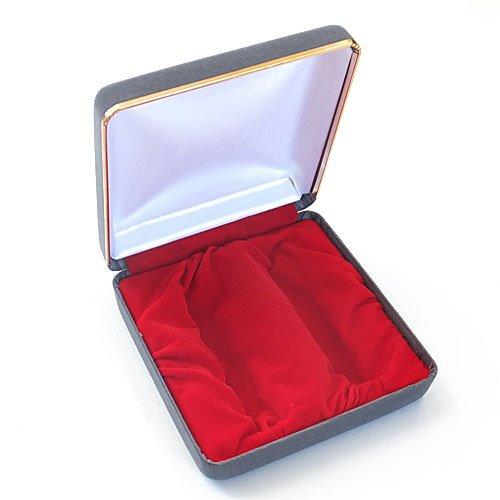 化粧ケース 印鑑ケースを2本収納用 スエード化粧箱 ブルーグレー 18mm印鑑用までのケースを収納できます。