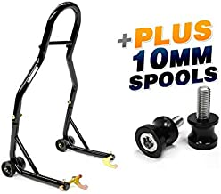 Venom Sport Bike Motorcycle Rear Wheel Swingarm Spool Lift Stand + Low Profile 10mm Black Swingarm Spools (Fits Most Kawasaki Bikes)