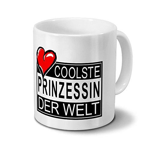 Tasse mit Namen Coolste Prinzessin der Welt - Motiv Textart-Layout 4 - Namenstasse, Kaffeebecher, Mug, Becher, Kaffeetasse - Farbe Weiß
