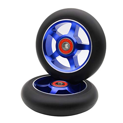 Z-FIRST 2Pcs 100 mm Pro Stunt Scooter Wheels with ABEC 9 Bearings for MGP/Razor/Lucky/Envy/Vokul Pro Scooters Replacement Wheels (Black-Blue)