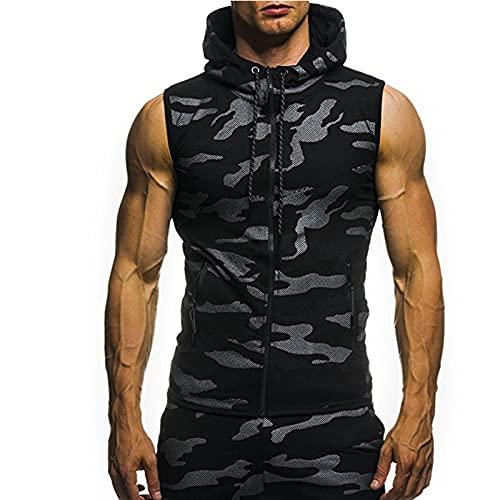 Men's Camouflage Sleeveless Hooded Vest Vest Men's Sleeveless Vest Camouflage Zipper Hooded Tops Fashion Casual Vest Slim Fit