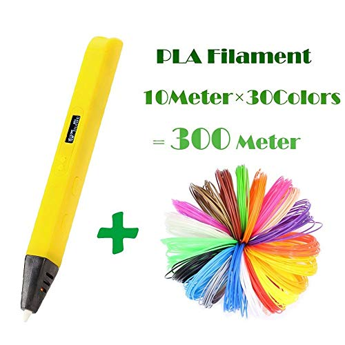 ZHQHYQHHX 3D Printing Pen For Kids 3D Drawing Pen Schilderen Toy Toepasselijk ABS/PLA filamentmateriaal 3D Printer ZHQEUR (Color : Yellow Add 300Meters, Size : Free)