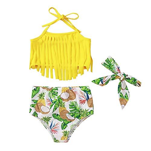 Julhold Traje de baño de bebé niña con borla + traje de baño de sandía + conjunto de corbata de pelo sin mangas de verano
