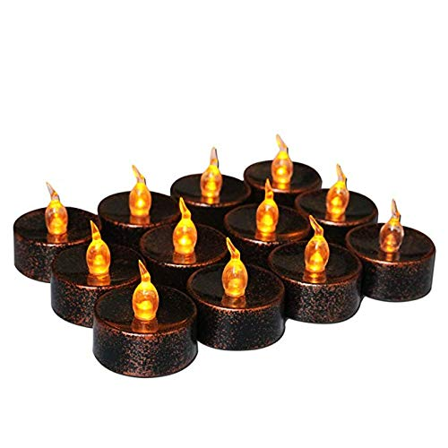12 Pack Black Retro Flicker Flameless Candles, Mini Electric Led Battery Operated Flickering Tealights Amber Yellow Light for Xmas Party Halloween Christmas Thanksgiving Home Decor,Black