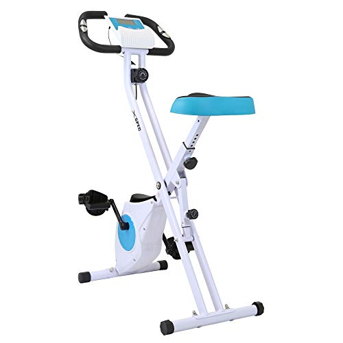 Xspec Foldable Stationary Upright Exercise Folding Workout Indoor Cycling Bike, Blue