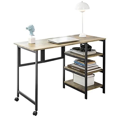 SoBuy FWT85-F Mesa de Oficina Plegable para computadora con Estante de 3 Niveles, Mesa de Estudio con Ruedas, encimera...