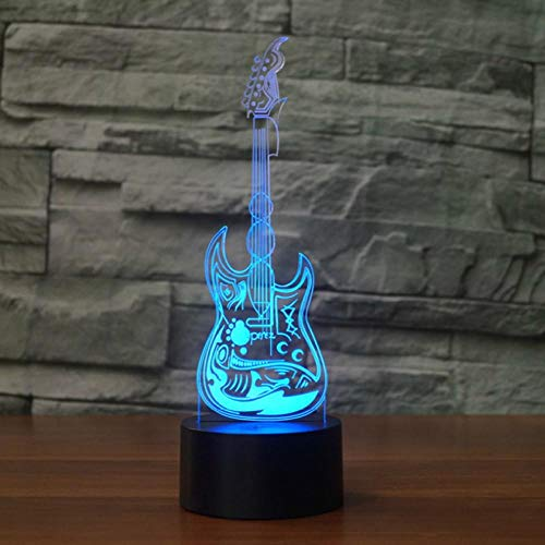E-gitaareffect, 3D-licht, LED-lamp, 7 kleuren, USB, touch-sensor, bureaulamp, nachtlampje, meloman, cadeaus