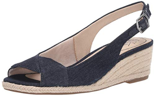 LifeStride Women's Socialite Espadrille Wedge Sandal, Denim, 10 M US