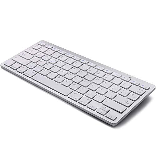 Teclado para Tablet Bluetooth Teclado Inalámbrico Español para iOS Mac iPad iPhone Android Huawei Samsung Windows Smart TV Blanco Plata