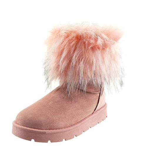 Angkorly - Damskie buty botki - śniegowce - futro obcas blokowy 3 cm, różowy - Rosa - 39 eu