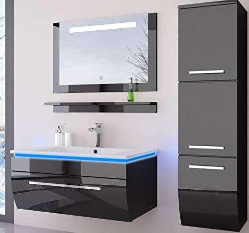 Badmöbel Set Komplett Schwarz Hochglanz lackiert Fronten Spiegel mit Beleuchtung mit Waschbecken 70 cm mit einem Hängeschrank