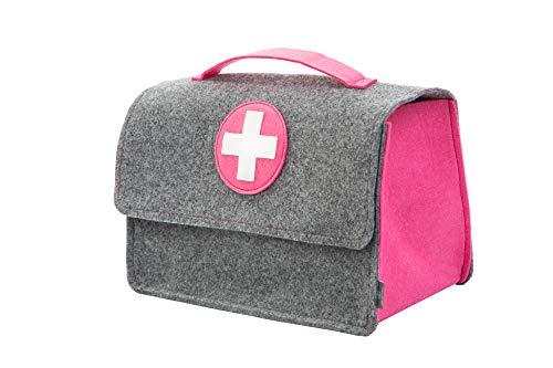 stil-macher Arztkoffer aus Filz | Doktortasche | Kinderarztkoffer | Rollenspiele | 25x33x16 cm (HxBxT) | Für Spielzeug oder Medikamente | grau-pink
