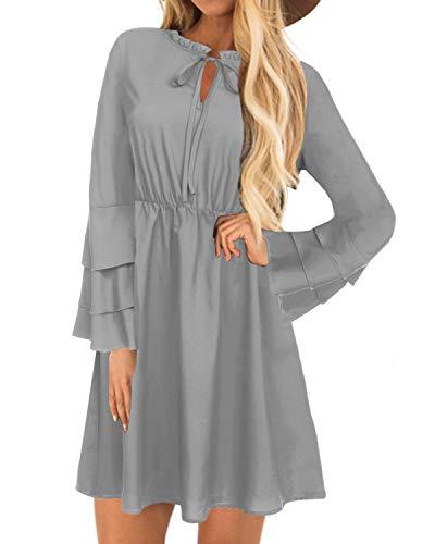 YOINS Sommerkleid Damen Minikleid für Damen Brautkleid Glockenärmel Tshirt Kleid Rundhals Langarm Minikleid Strandkleid Langes Shirt Lose Tunika Grau-01 M