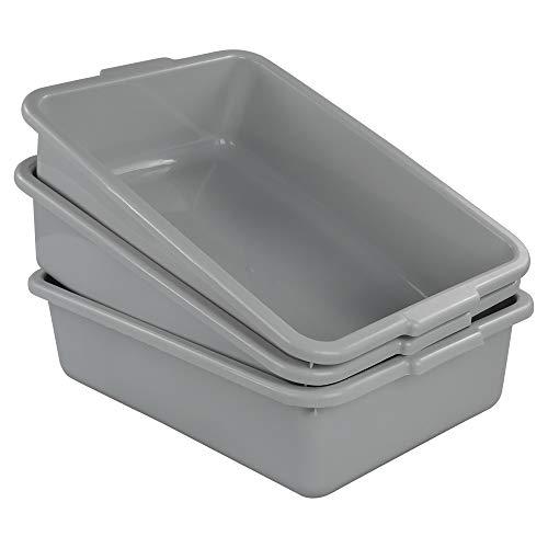 Ucake Plastic Bus Tub Shallow Plastic Tub Utility Bus Dish Pan, Light Grey, 3 Packs