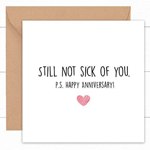 Tarjeta divertida de aniversario de boda feliz | tarjetas hechas a mano para novio prometido novio novio pareja esposa | regalo para él | Gay lesbianas LGBT | 1.ª 2.ª 3.ª 4ª rubí dorado | 14 x 14 cm