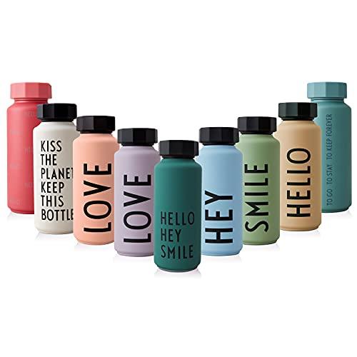 design letters Botella térmica/aislada (Vert Oscuro) - Aspiradora de Doble Pared sin BPA, diseño nórdico, se Mantiene fría hasta 24 Horas/Caliente hasta 12 Horas, 500 ml, Prueba de Fugas, 280g