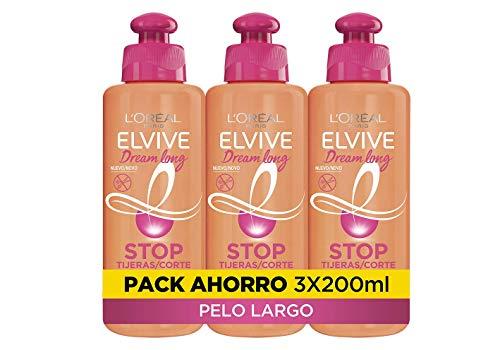 L'Oréal Paris Elvive Dream Long Crema Stop Tijeras, para cabellos dañados - pack de 3 unidades x 200 ml