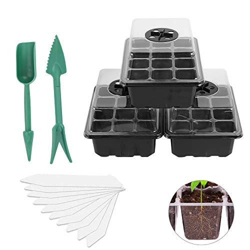 HO2NLE 3 Pack Zimmergewächshaus Anzucht Set Kunststoff Anzuchtschalen Setzling Starter Tabletts mit 12 Pflanzlöchern und Deckel Mini Gewächshaus für Sämling Pflanze Aufzucht