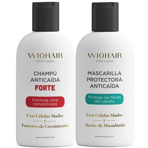 Wiohair Champú y Mascarilla Premium Anticaída| Fortificante | Frena la Caída Avanzada y Estimula el Crecimiento del Cabello | Sin Sulfatos, Siliconas y Parabenos | Para Hombres y Mujeres