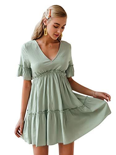 MsLure Women's V Neck Cotton Ruffle Babydoll Loose Mini Dress Short Sleeve Tunic Swing Dress Green,L