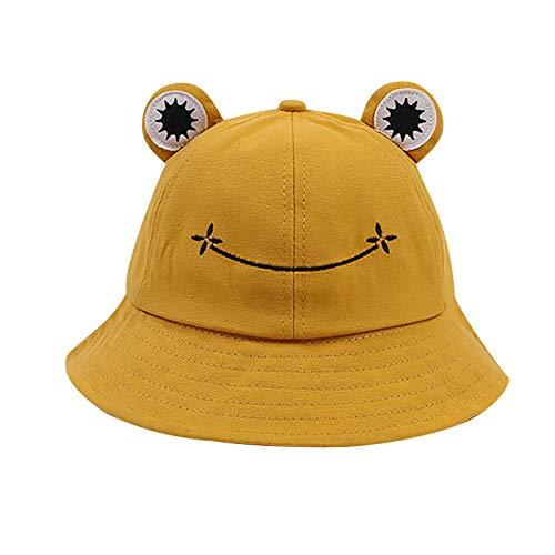Liably Bonito animal para senderismo, playa, pesca, sombrero, sombrero, sombrero, rana, sombrero, cubo, sombrero para mujer, rana, cubo, sombrero de verano plegable, transpirable amarillo M