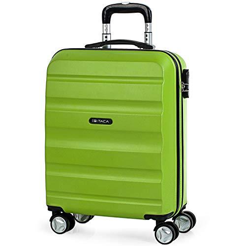 ITACA - Maleta de Viaje 55x40x20 cm Cabina Trolley ABS. Equipaje de Mano. Rígida, Resistente y Ligera. Mango, 2 Asas y 4 Ruedas. Vuelos Low Cost Ryanair, Candado Integrado. T71650, Color Pistacho