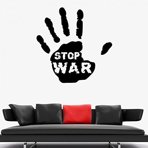 SUPWALS Wandtattoos Stop War Wandtattoo Handabdruck Worte Frieden Liebe Vinyl Tür Fenster Aufkleber Arbeitszimmer Schulbüro Innendekor Tapete 110X110 Cm