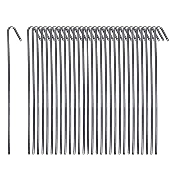 Pinnacle Mercantile 30 Pack Tent Stakes Metal Garden Edging Fence Hooks Pegs Christmas Decoration Stakes Made USA 9 inches Long