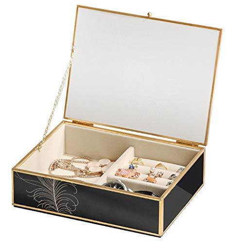 Joyero Caja De Joyería De Vidrio Negro De Cobre Puro Mujer Joyería Caja De Joyería Reloj Y Anillo Caja 2 En 1 Joyas para Niñas Mujeres Regalo de joyería
