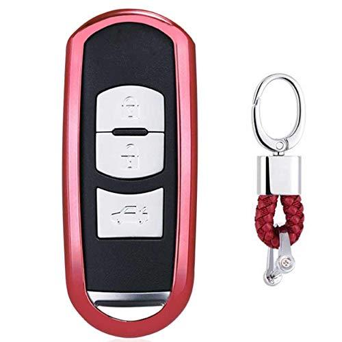 Rojo Funda de TPU Suave para Llave + Llavero para Coche Mazda 3 5 6 CX-3 CX-5 CX-7 CX-9 MX-5 Miata 3