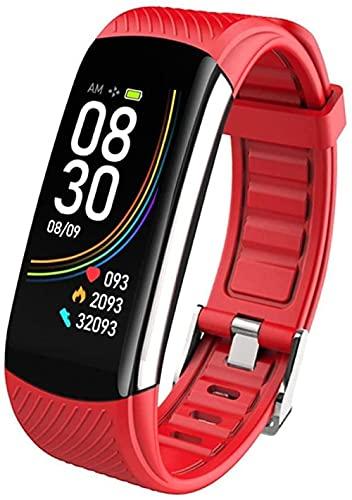 Moda C6T Temperatura Corporal Reloj Pulsera Inteligente Ip67 Impermeable Monitor de Ritmo Cardíaco Pulsera Fitness Rastreador de Salud Uso Diario/Blanco-Rojo