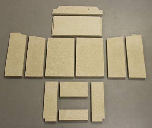 Feuerraumauskleidung C für GKT Alosa Lido II Kaminöfen - Vermiculite - 12-teilig