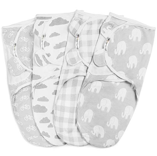 BaeBae Goods Swaddle Blanket, Adjustable Infant Baby Swaddling Wrap Set of 4, Baby Swaddling Wrap Blankets for Boys and Girls Made in Soft Cotton