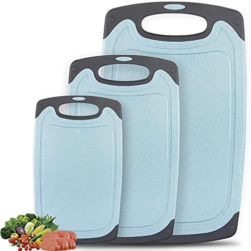 Frasheng Tablas de Cortar de Plástico Juego de 3 unidades,con ranuras para zumos,sin BPA,Alta calidad,duradero,azul