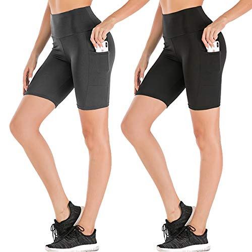 Women's High Waist Workout Yoga Shorts Two Side Pocket-Best for Running,Dance,Bike (3# Black,Grey,2 Pack, X-Large)