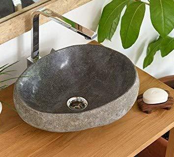 wohnfreuden Waschbecken aus Stein natürlich mit Naturkante ca 30 cm Naturstein in Bad WC Garten mit Unikatauswahl nach dem Kauf aus Bildergalerie