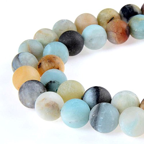 PLTbeads Gorgeous Amazonite Natural Gemstone Loose Beads 8mm Matte Round Approxi 15.5 inch DIY Bracelet Necklace for Jewelry Making