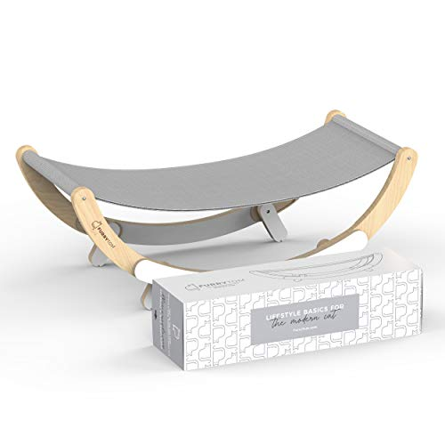 Furry Tom Premium Cat Bed - Rocking and Static Cat Hammock - Modern and Minimalist Pet Bed - Pine Wood and Linen - Elephant Gray