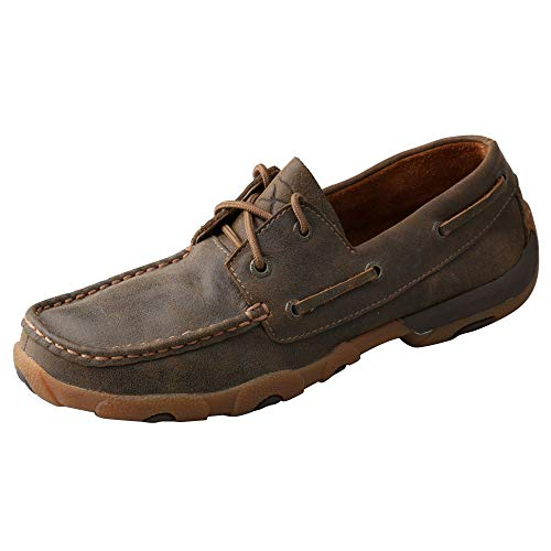 Twisted X Women's Boat Shoe Leather Driving Moccasins, Bomber/Bomber, 12 Medium