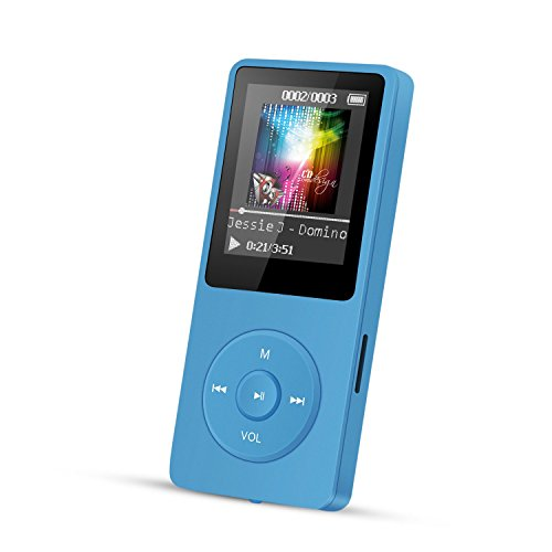 AGPTek A02 IL lettore MP3 8 GB schermo 1,8' con Radio e registratore, Il tempo di riproduzione è fino a 70 ore,Blu