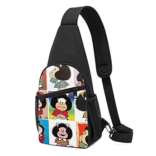 VJSDIUD Bolsa de pecho Mafalda Friends Crossbody Bags Anime Multifunction Sling Bag Adjustable Small Shoulder Chest bag for Women Mens Sports,Camping,Hiking Shoulder Bag Backpack