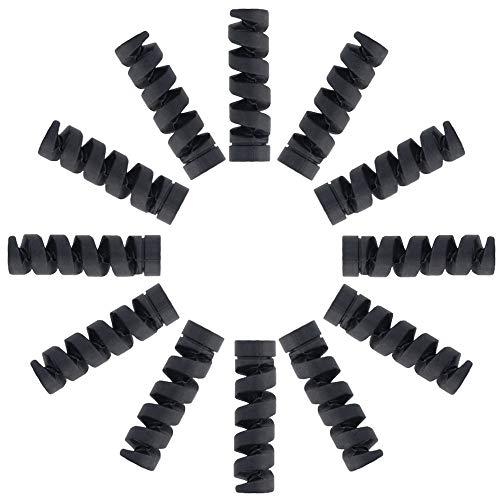 Kabelschoner für Typ C Ladegeräte, Lightning Kabel Hülle, Micro USB Schutz, Flexibler Silikon, Maus Kabelschutz, Überzug für alle Handykabel (12 Stück, Schwarz)
