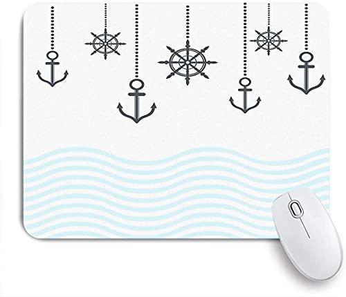 PATINISA Alfombrilla Raton Ordenador,Colgante de símbolos náuticos Volante y Anclas Resumen Olas del océano,Alfombrilla Suave Gaming para Ratón Adecuado para ratón de Oficina y para Gaming