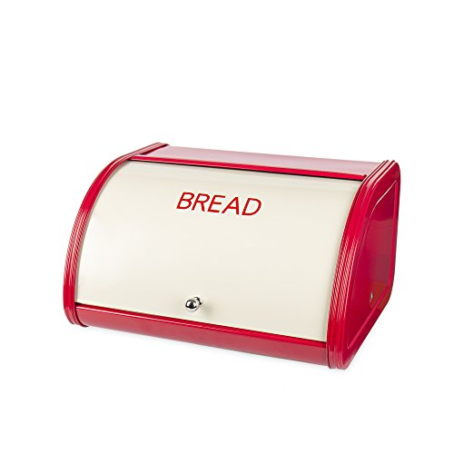 X458 Metal Bread Box/Bin/kitchen Storage Containers with Roll Top Lid (red)
