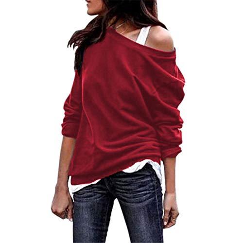 YUPENG Sweatshirt Women Sexy Strapless Fashion All-Match Women Sweater New Elegant Temperament Solid Color Simplicity Casual Women Sweatshirt L