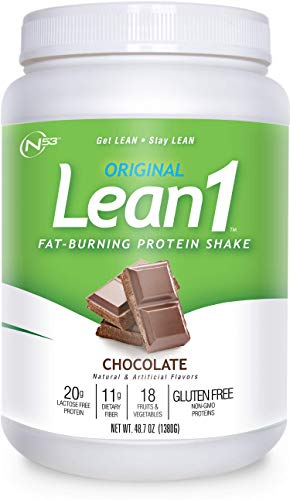 LEAN1 Chocolate Protein Powder Meal Replacement Shakes By Nutrition 53, Lactose & Gluten Free with Green Coffee Bean Extract, 23 Serving Tub - 48.7 oz