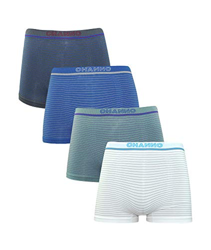 Channo Pack de 4 - Calzoncillos Boxer Lycra de niños sin Costuras con Rayas horizontales