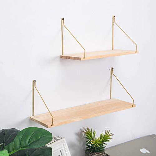 Wandrek van massief hout, drijvend rek met metalen beugels, presentatiestandaard en bewaarorganisator, wandrek voor thuis en op kantoor Small(30*15*16cm)