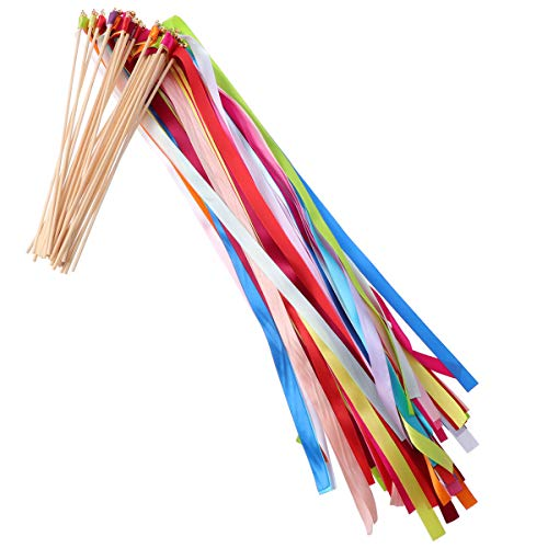 ROSENICE 30 Stück Zauberstäbe mit Bandglocken für die Hochzeitsgeburtstagsfeier (zufällige Farbe)