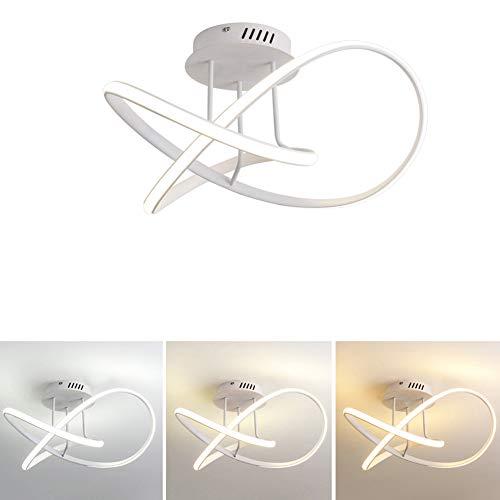Moderne led-plafondlamp dimbaar (warmwit/neutraal wit/koudwit) acryl aluminium lampenkap plafondlamp, ring design woonkamerlamp eetkamer lamp slaapkamerlamp keuken plafondverlichting 48W wit